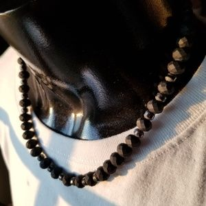 All Black Beaded Necklace w/Silver Hardware 10""